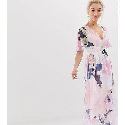 Little Mistress Petite kimono sleeve printed maxi dress