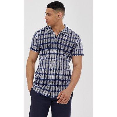 SELECTED Selected Homme - Kurzärmliges Hemd in Navy mit Reverskragen und Batikprint - Navy