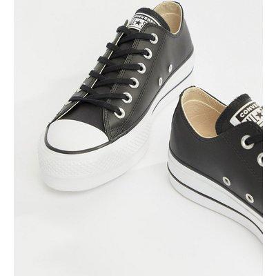 CONVERSE Converse - Chuck Taylor All Star - Schwarze Ledersneaker mit niedrigem Knöchel und Plateausohle - Schwarz