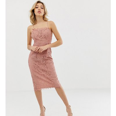 ASOS DESIGN Petite square neck pencil midi dress in lace