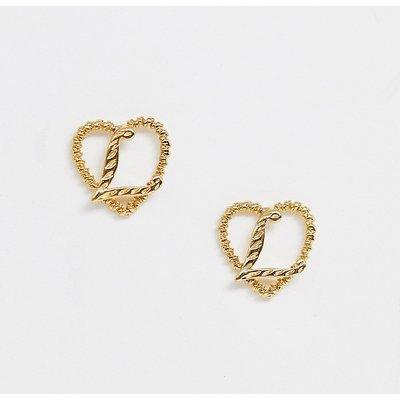 RECLAIMED VINTAGE Reclaimed Vintage - Inspired - Goldfarben beschichtete Ohrringe mit Buchstabendetail - Gold