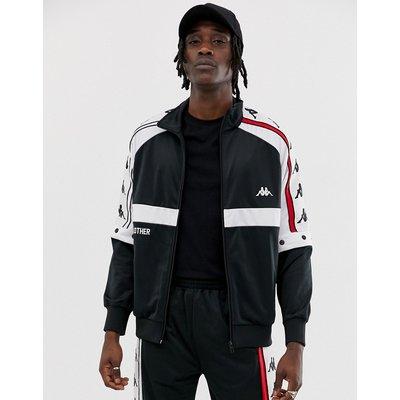 KAPPA Kappa - Authentic Bader - Schwarze Trainingsjacke mit Druckknöpfen und großem Logoband - Schwarz