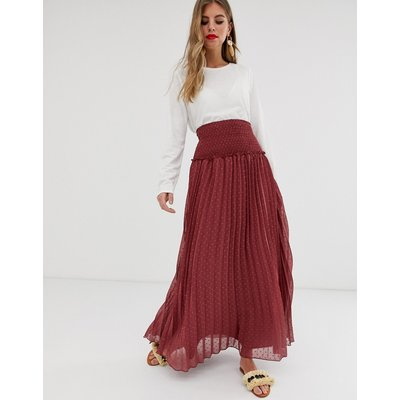 ASOS DESIGN shirred waist pleated maxi skirt in dobby
