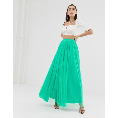 Lace & Beads tulle maxi skirt in green