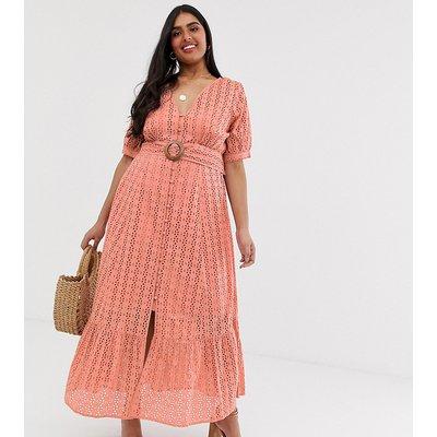 ASOS DESIGN Curve broderie pephem maxi dress with wooden belt