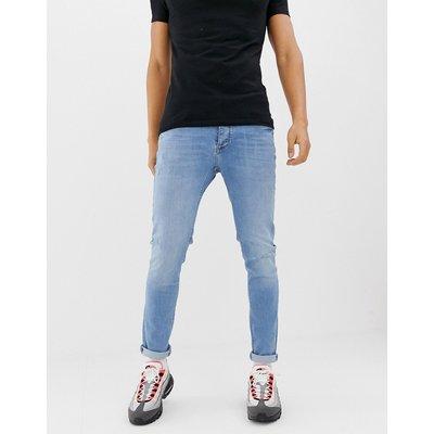 RIVER ISLAND River Island - Enge Jeans mit leichten Abnutzungseffekten in verwaschenem Hellblau - Blau
