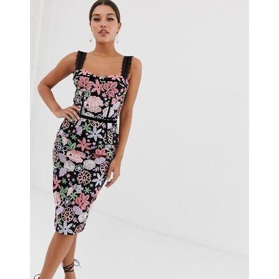 Bronx & Banco Camille floral embroidered pencil dress