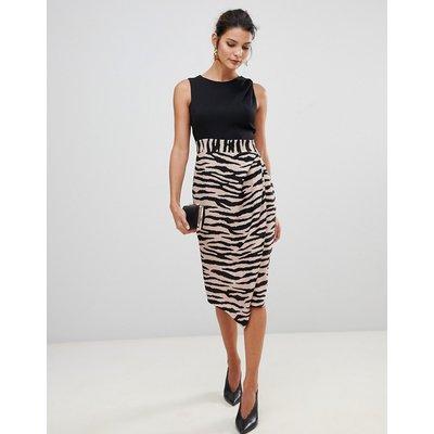 Closet London 2 in 1 sleeveless pencil dress with tiger print skirt