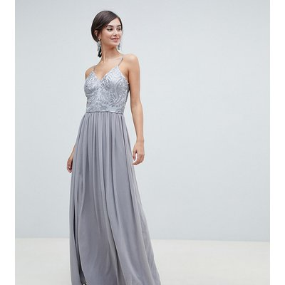 Chi Chi London Tall cami strap embellished maxi dress in grey