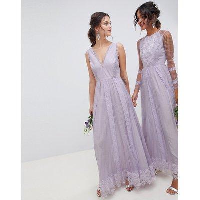 ASOS DESIGN Dobby Mesh And Lace Mix Sleeveless Maxi Dress