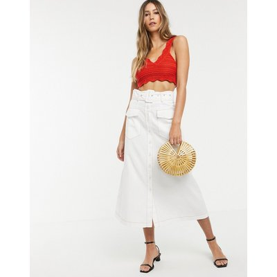 Neon Rose utility maxi skirt with belted waist