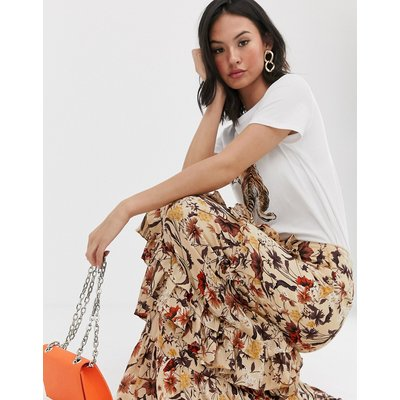 Glamorous tiered maxi skirt in autumn floral