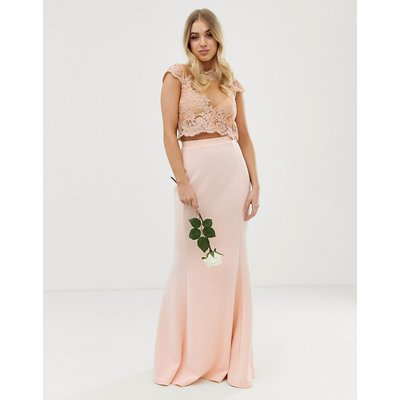 Club L bridesmaid scuba panel detail maxi skirt