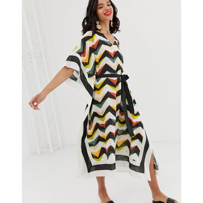 & Other Stories graphic belted linen kaftan