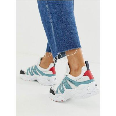 SKECHERS Skechers - D'Lite 3.0 Overlay - Klobige Sneaker in Weiß und Blau - Weiß