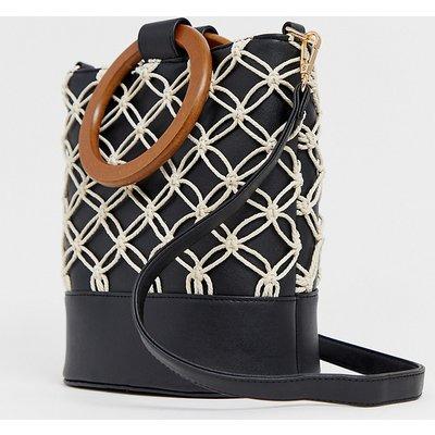 NEW LOOK New Look - Schwarze Handtasche mit rundem Griff und Kordeldesign - Schwarz