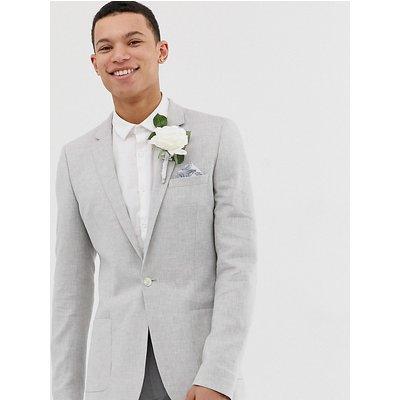 ASOS ASOS DESIGN Tall - Wedding - Superenger Blazer aus eisgrauem Leinen - Grau