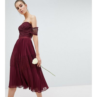 ASOS DESIGN Tall Premium guipure lace panelled midi dress