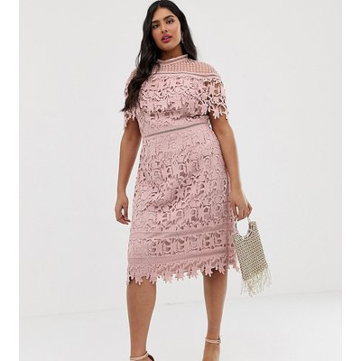 Chi Chi London Plus high neck all over lace pencil dress in blush pink