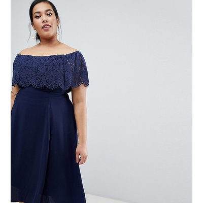 Coast Plus Olive Lace Off Shoulder Midi Dress