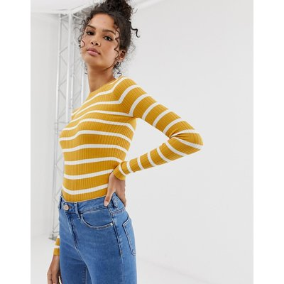 BRAVE SOUL Brave Soul - Gerippter Pullover mit engem Schnitt in Senfgelb gestreift - Gelb