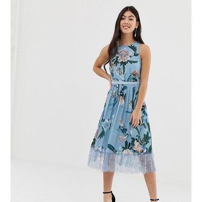 Little Mistress Petite allover pleated midi dress in floral print