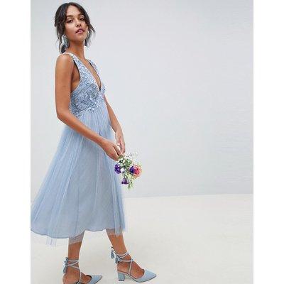 ASOS DESIGN Dobby Mesh And Lace Mix Midi Dress