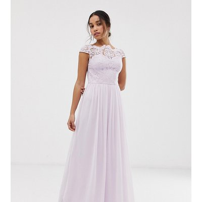 Chi Chi London Petite lace maxi dress with cap sleeve in pink