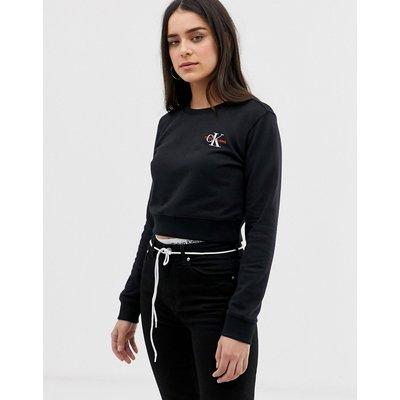 CALVIN KLEIN Calvin Klein Jeans - Kurz geschnittenes Rundhalsshirt mit Monogramm und aufgesticktem Logo - Schwarz