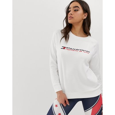 TOMMY HILFIGER Tommy Hilfiger Sport - Weißes Sweatshirt mit Rundhalsausschnitt und Logo - Weiß