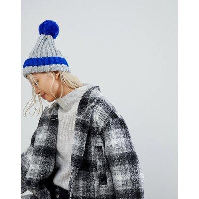 BRAVE SOUL Brave Soul - Gerippter Hut mit Bommel und kontrastierenden Zierstreifen in Leuchtend Blau - Grau