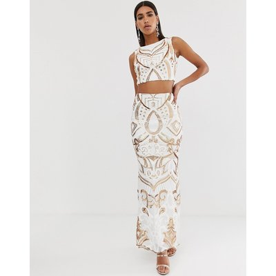 Goddiva high a line maxi skirt in white and gold