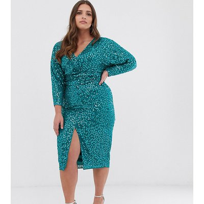 ASOS DESIGN Curve midi dress with batwing sleeve and wrap waist in scatter sequin