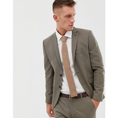 SELECTED Selected Homme - Schmal geschnittene Anzugjacke mit Hahnentrittmuster - Beige