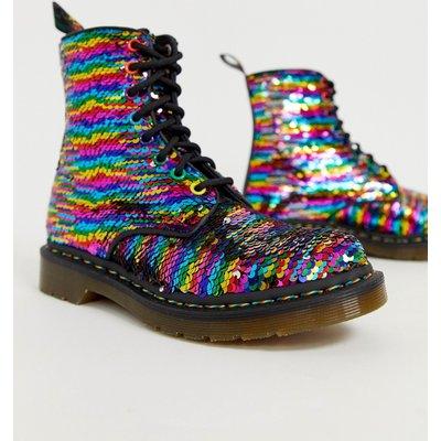 DR MARTENS Dr Martens - 1460 Pascal - Stiefel mit Pailletten in Regenbogenfarben - Mehrfarbig