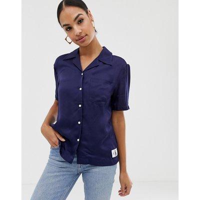 CALVIN KLEIN Calvin Klein Jeans - Bowling-Hemd aus Satin - Blau