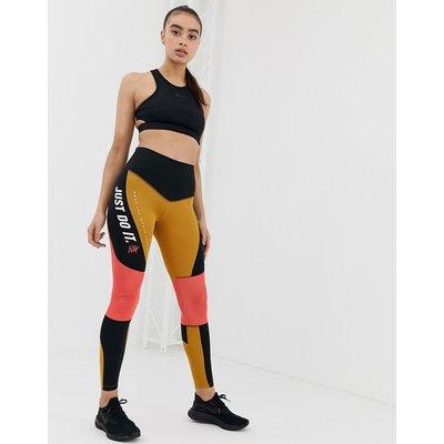 NIKE Nike Training - Leggings mit Farbblockdesign in Schwarz und Gold und hohem Bund - Mehrfarbig