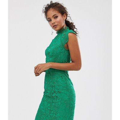 Chi Chi London Tall scallop lace pencil dress in green