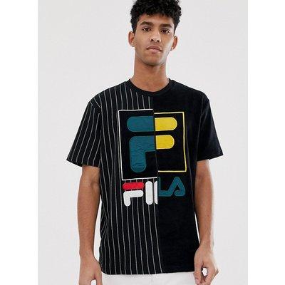 FILA Fila Black - Line Aiden - Schwarzes T-Shirt aus Frottee mit Kontrastdesign - Schwarz