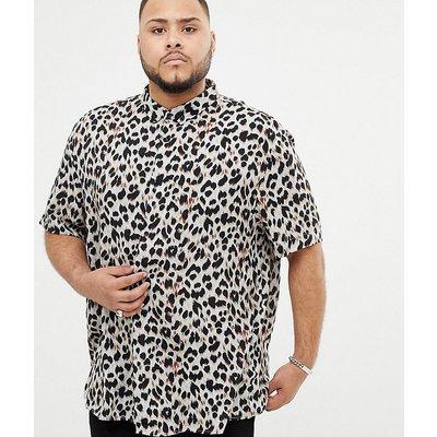 RIVER ISLAND River Island - Big & Tall - Regulär geschnittenes Hemd mit Leopardenmuster - Grau