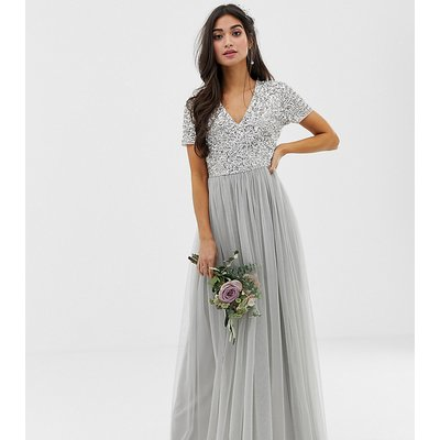 Maya Petite Bridesmaid v neck maxi tulle dress with tonal delicate sequins in soft grey