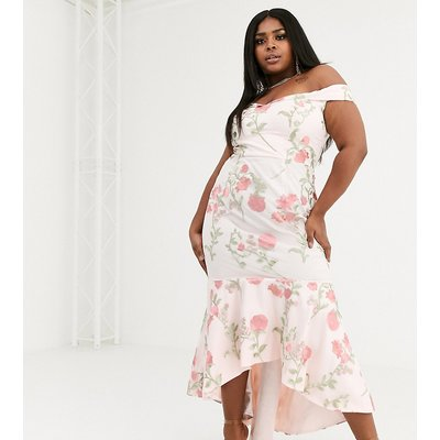 Chi Chi London Plus bardot fishtail maxi dress in floral embroidery