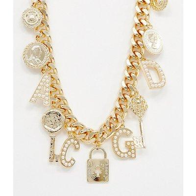 RECLAIMED VINTAGE Reclaimed Vintage inspired - Mit Anhängern und Perlen verzierte Halskette - Gold