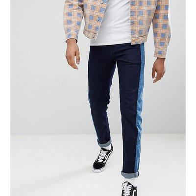Jeans im Sale - ASOS DESIGN Tall - Schmal geschnittene Jeans in Indigo mit seitlichem Streifeneinsatz - Blau