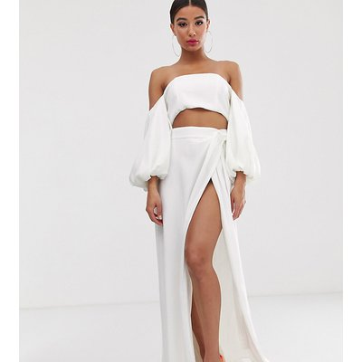 Yaura high waist maxi skirt co ord in white