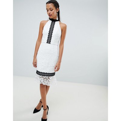 Chi Chi London lace pencil dress with frill hem