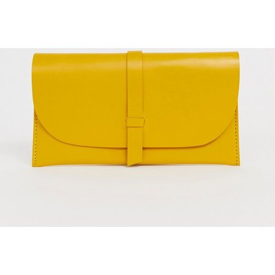 ASOS ASOS DESIGN - Leder-Handtasche mit Umschlag vorne - Gelb