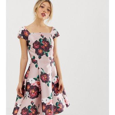 Chi Chi London Petite midi dress in dusty floral print