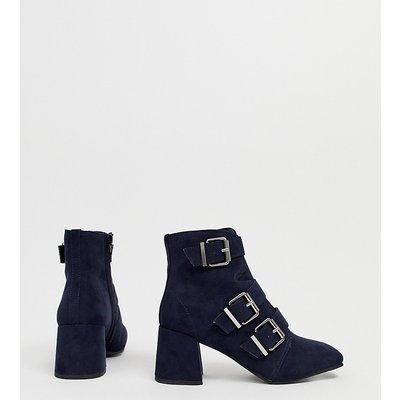 NEW LOOK New Look - Marineblaue Stiefel mit Absatz und Schnallen - Navy