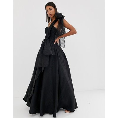 Bariano full prom one shoulder maxi dress with detachable bow detail in black
